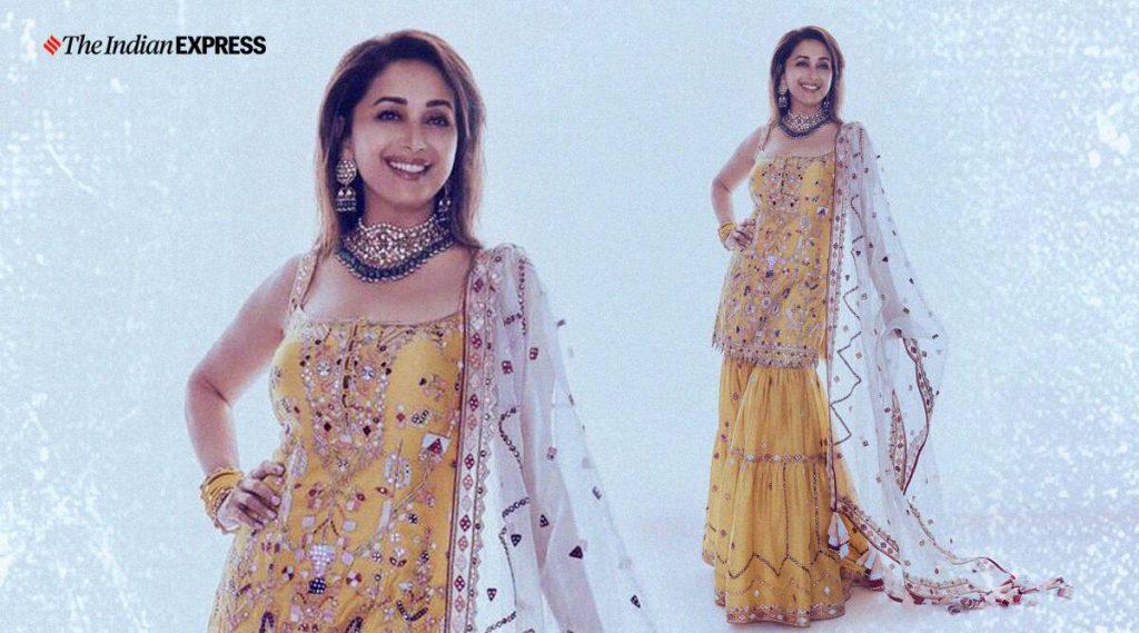 Celeb fashion: Madhuri Dixit steals the show in this resham gharara set